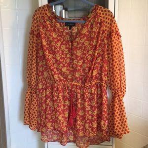 Beautiful orange floral light blouse